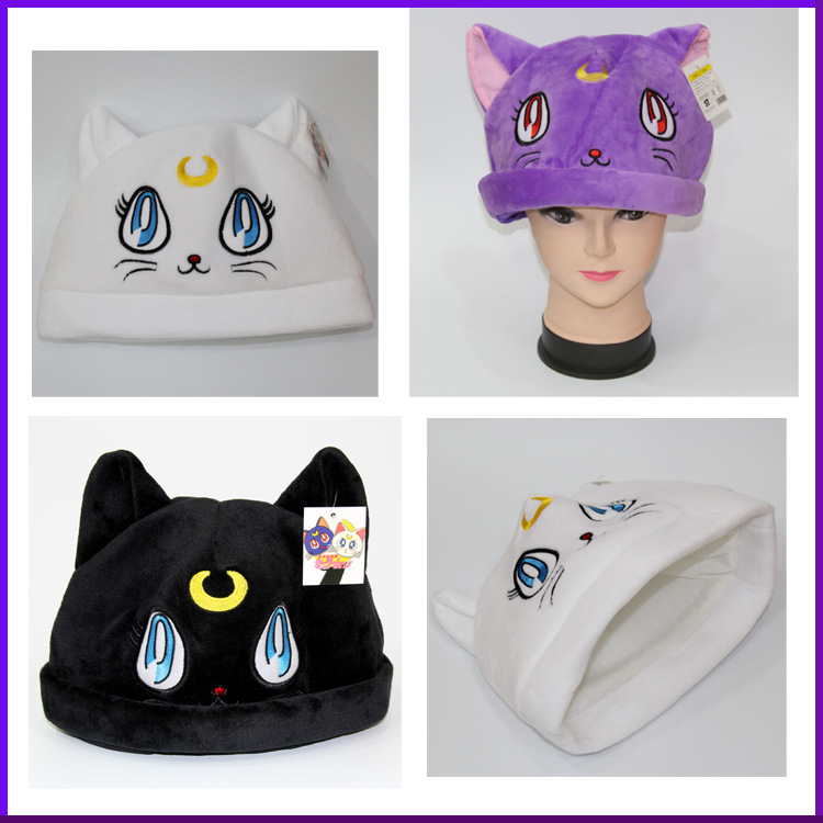 Cartoon anime plush hat  beauty girl warrior luna cat purple cat plush hat sailor moon winter thick thick warm cat hat cosplay
