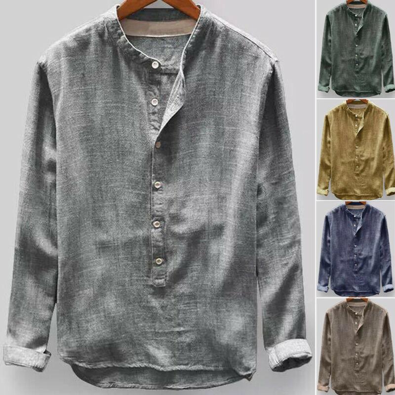 Men's Linen Long Sleeve Shirt Summer Buttom Cool Loose Casual O-Neck Shirts Tops L-4XL