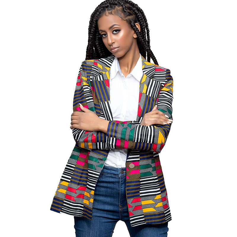 Womens Traditional African Print Slim Fit Blazer Jackets 2018 Fashion Notched Collar Ladies ...