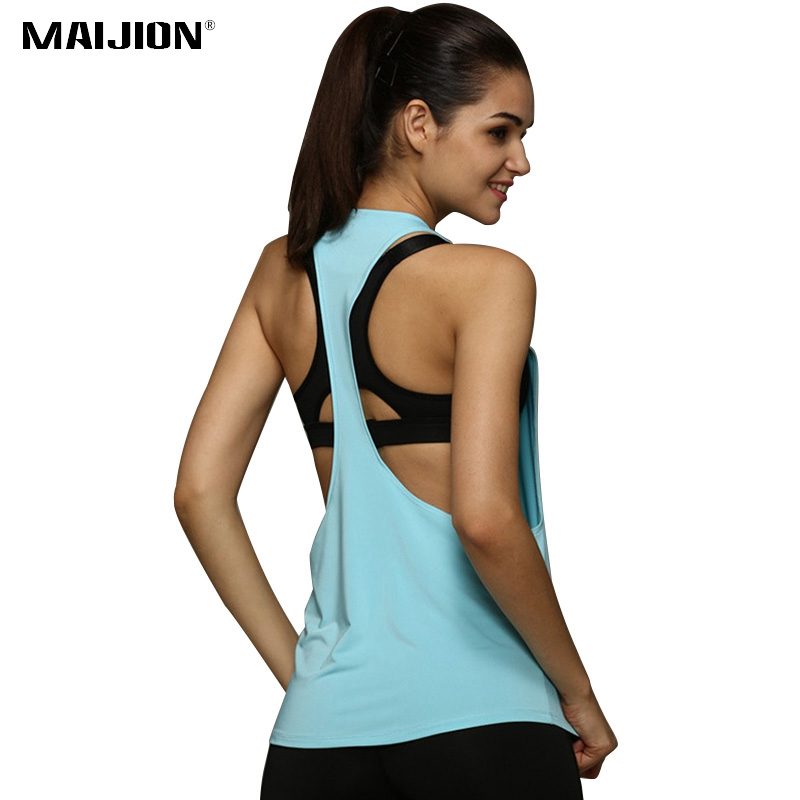 Sexy Backless Fitness Yoga Tops Women Sleeveless Workout Shirts Vest Quick Dry Loose Sport Tank Top Running Training T Shirt