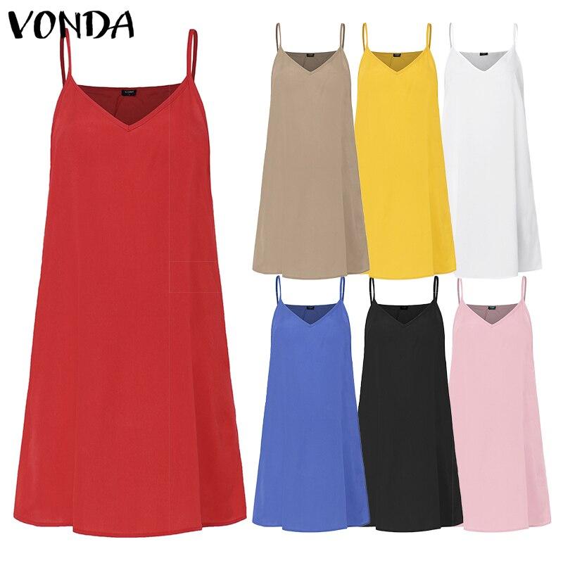 VONDA 2019 Short Dresses 7 Color Sexy Women Spaghetti Strap Bottom Vest Dress Solid Color Casual Underwear Maternity Dresses