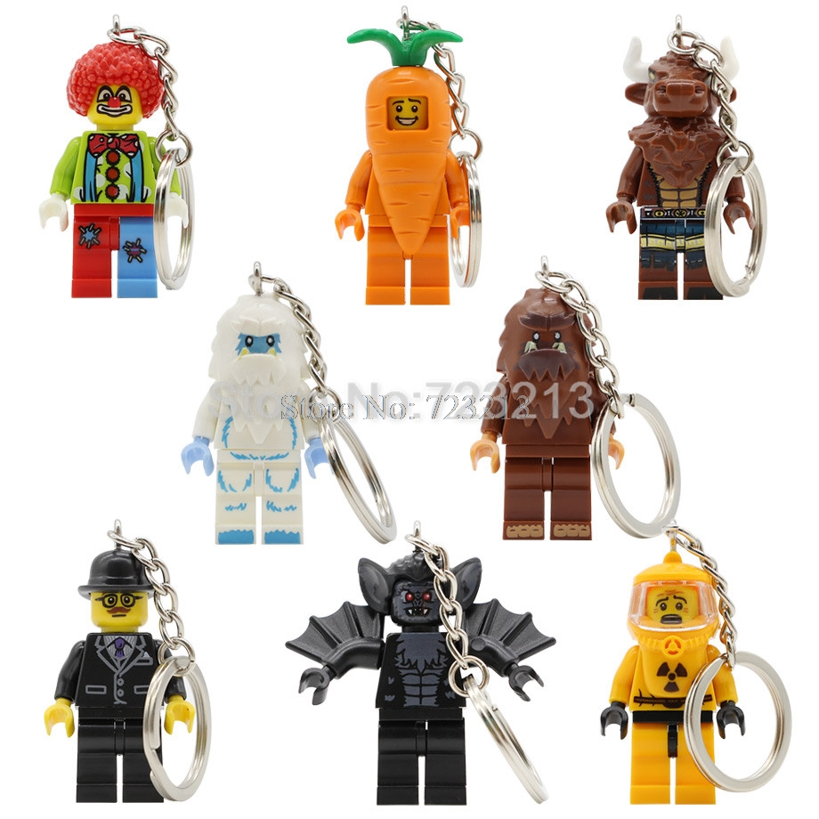 Tauren Vampire Bat Clown Snow Business Carrot Man Figure Keychain Nuclear Workers Bigfoot Building Blocks Bricks Toys