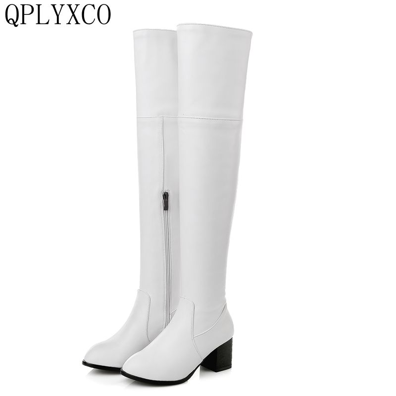QPLYXCO 2017 New Big and small Size 30-48 Genuine Leather high Boots shoes Women's over the knee high Boots High quality 116-13 лонгслив emdi emdi em012ewsdn61