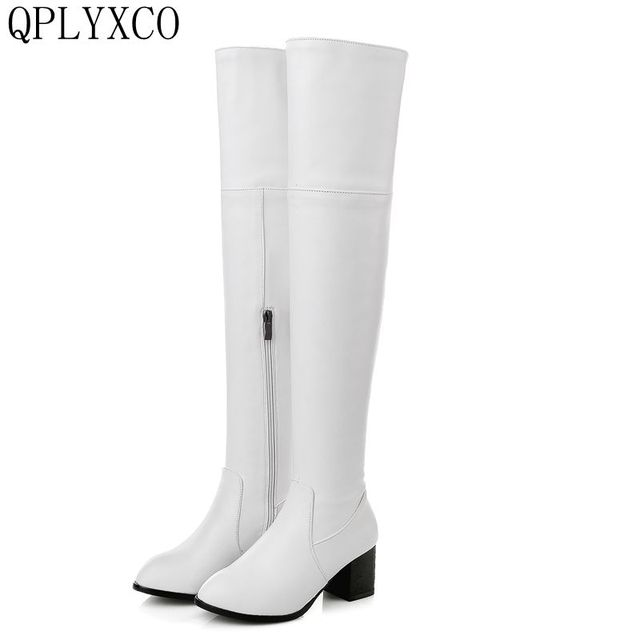a65193bbbbc QPLYXCO 2017 New Big and small Size 30-48 Genuine Leather high Boots shoes  Women s over the knee high Boots High quality 116-13