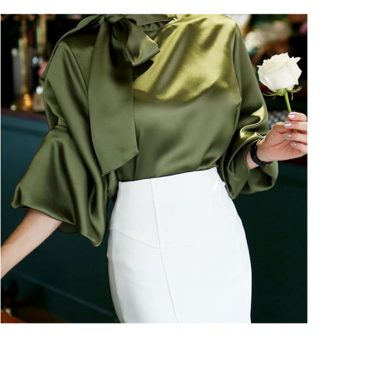 2019 Spring Women Blouse Korean Office Lady White Chiffon Long Lantern Sleeve Bow Shirt Casual Loose Stand Collar Blouse (9)