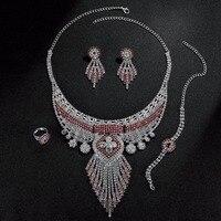 PINKSEE Bohemia Retro Pha Lê Tua Pendant Necklaces Màu Đỏ Cổ Điển Màu Trong Suốt Bông Tai Vòng Cổ Bracelt Vòng Jewe