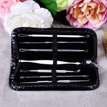 7pcs/lot New Stainless Steel Surgical Extractor Tools Black head Pimple Remover Kit for Acne Treatment Face Cleansers Equipment