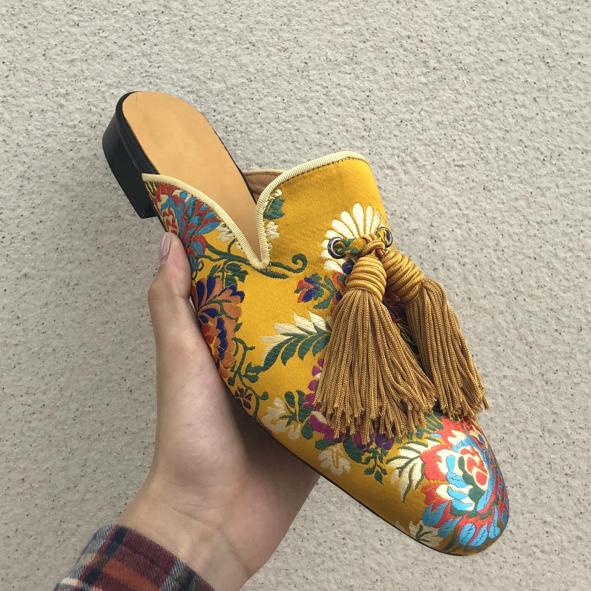 Mules men chinelos deslizamento on apartamentos borlas de seda sapatos casuais artesanais masculinos amarelo interior ao ar livre - 6