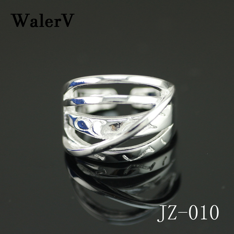 WalerV New 925 Silver Ring for Woman Fashion Jewelry Simple Five Line Sterling Silver Female Creative Wedding Party Rings Gift