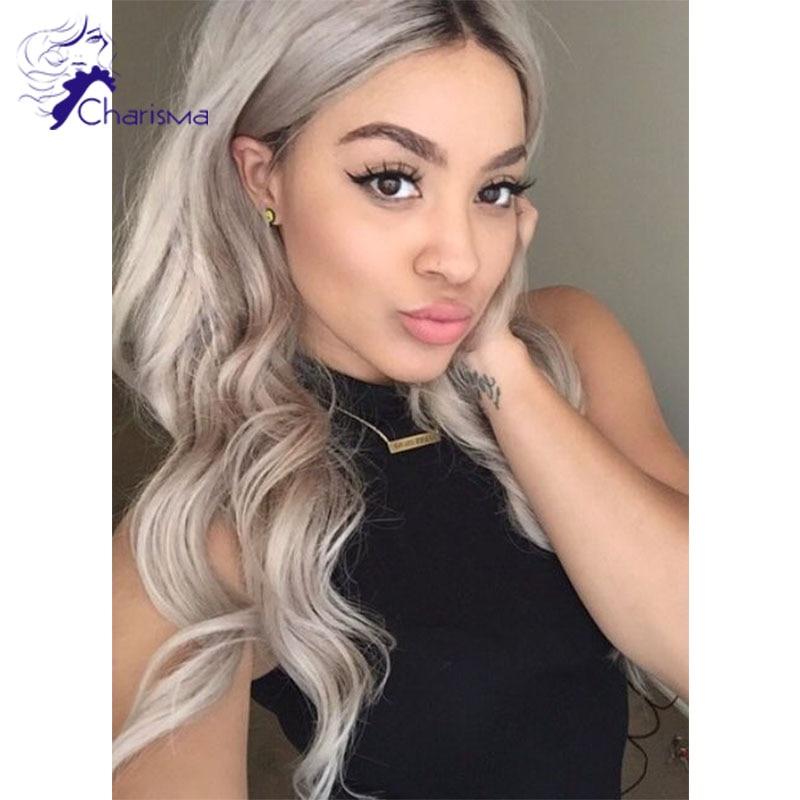 New Grey Full Lace Human Hair Wigs Glueless Brazilian