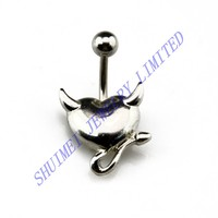 50Pcs Devil Horn Heart Stainless Steel Navel Barbell Belly Button Ring Piercing Free Shipping Wholesale