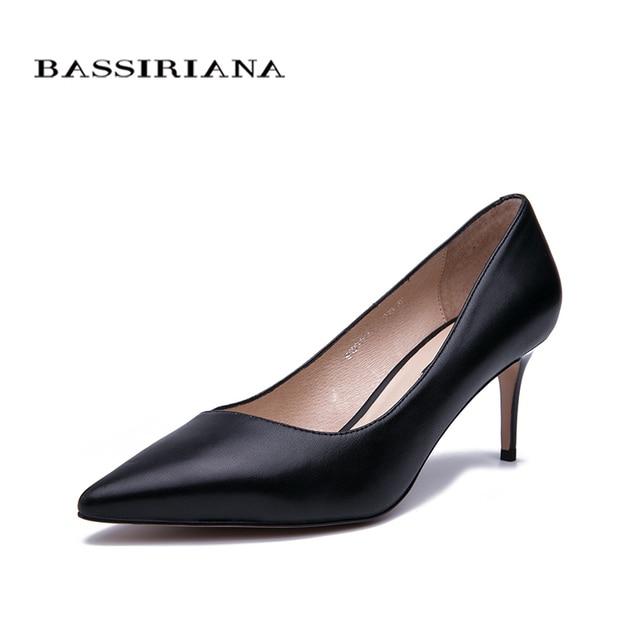 BASSIRIANA/2019 новые туфли на высоком каблуке, женские туфли-лодочки, женская обувь из натуральной кожи, классические черные туфли на высоком каблуке