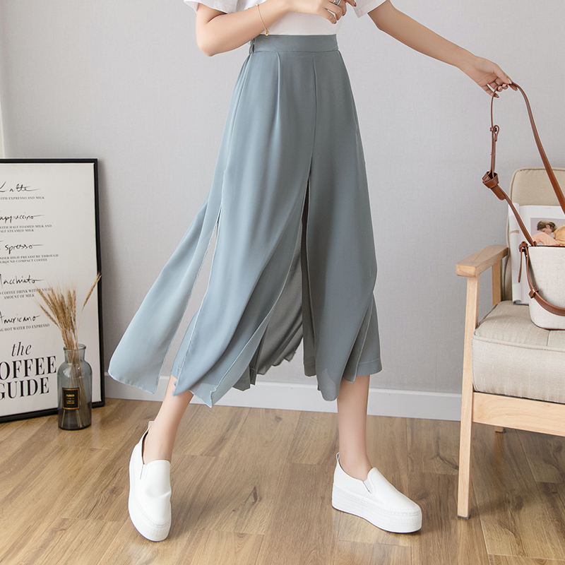 2019 Women Summer   Pants   Drape Chiffon   Pants   Stitching Casual   Wide     Leg     Pants   Female Ankle-Length Loose Trousers