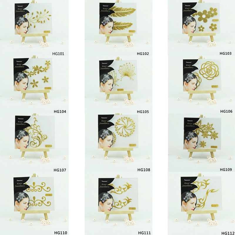 1 Sheet Chic Flash Hair Tattoo Metallic Gold Flower Pattern 1