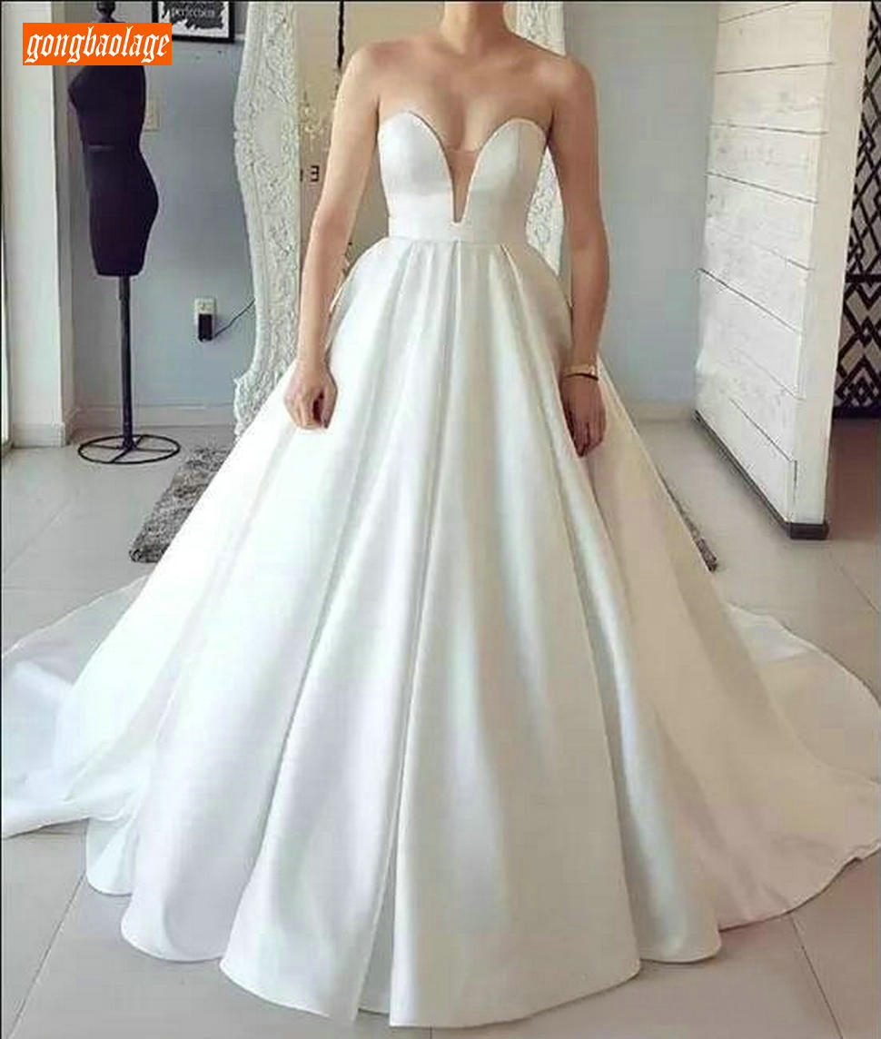 Graceful Satin White Wedding Dresses Long Sweetheart Ball Gown Bride Dress Customized Princess Sweep Train Ivory Wedding Gowns