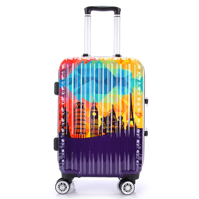 Aluminum frame+PC Shell Vintage Luggage Bag ,Scratch-resistant Matte Trolley ,Tower pattern Suitcase,Groove design Travel Case
