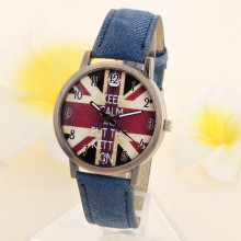 Reloj Unisex Denim Fabric Watch for Women Leather Bus UK Flags Ladies W