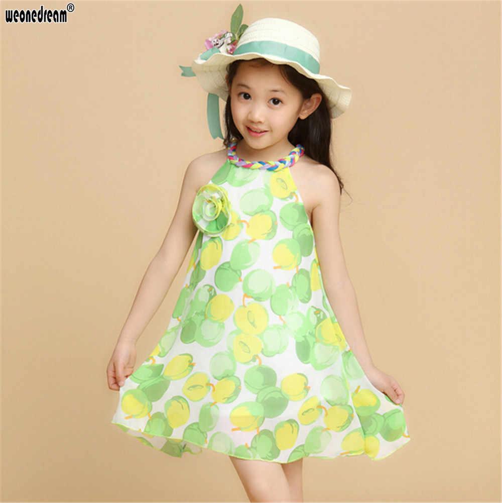 WEONEDREAM/Новинка; детское шифоновое платье на бретельках с фруктовым принтом; крутое Повседневное платье для девочек; праздничное платье принцессы для дня рождения; детская одежда