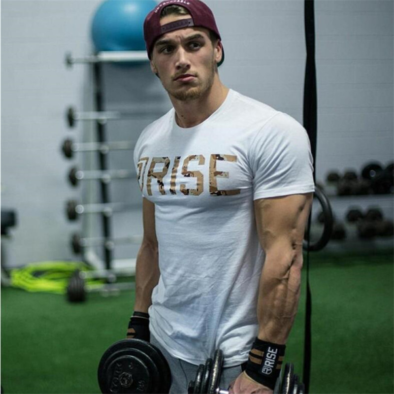 New Workout Clothes Cotton RISE Gyms   T     Shirts   Mens Short Sleeve   T  -  shirt   Muscle Gyms Fitness Clothing Bodybuilding Tops