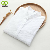 GOPLUS 2017 New Striped White Blouse Tops Sweets Flower Edge Stand Collar Women Blouses Shirt Long