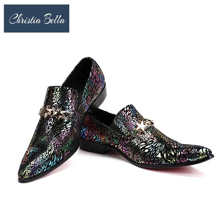 Zapatos Christia Genuino Bling Hombres Boda Moda Negocios La Vestido Multiple Hebilla Cuero Con Lujo De Estilo Estrella Bella 4qx4vS