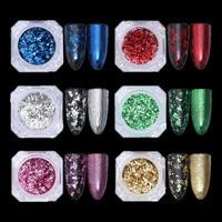Irregular Gold/Silver Mirror Nail Glitter Powder Paillettes Nail Flakes Nail Art Sequins Magic Aluminum Nail Gel Polish Pigment