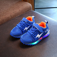 2018 Mesh Breathable Patchwork Children Sneakers Cool LED Lighting Kids Shoes High Quality Girls Boys Toddlers