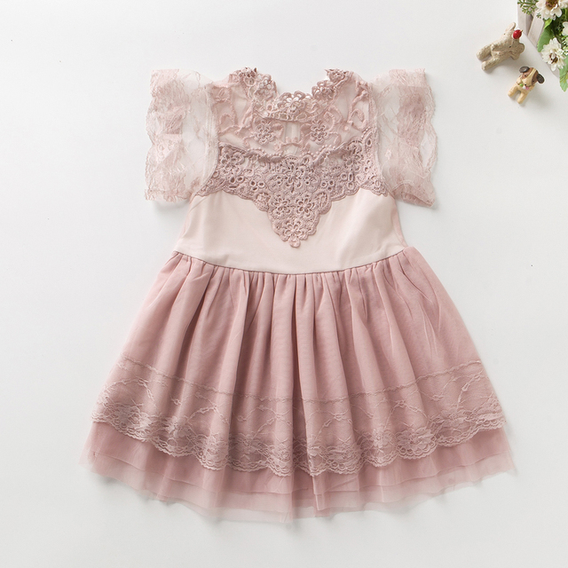 Roupa do bebê para a menina 2017 Festa do bebê do bebê dos miúdos Rosa Branco cinza laço de fadas Floral pouco vestido da dama de honra Roupas de bebê extravagante