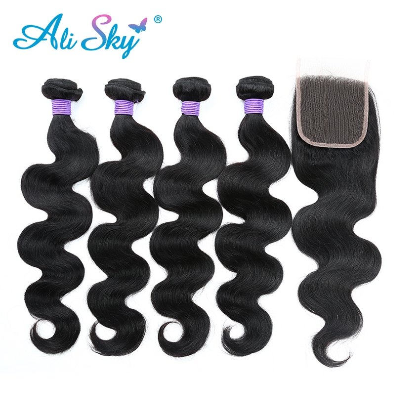 Brazilian Body wave Alisky hair 4Bundles With 1pcs Top Lace Closure 100 Human Hair Weaves nonremy