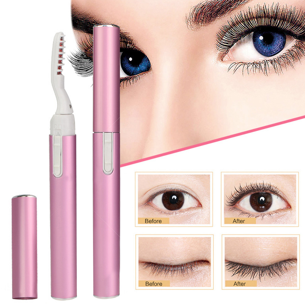 ELECOOL Portable Electric Perm Heated Eyelash Curler Pen Pink Purple Style Long Eye Lash Curler Makeup Curling Kit Dropshipping