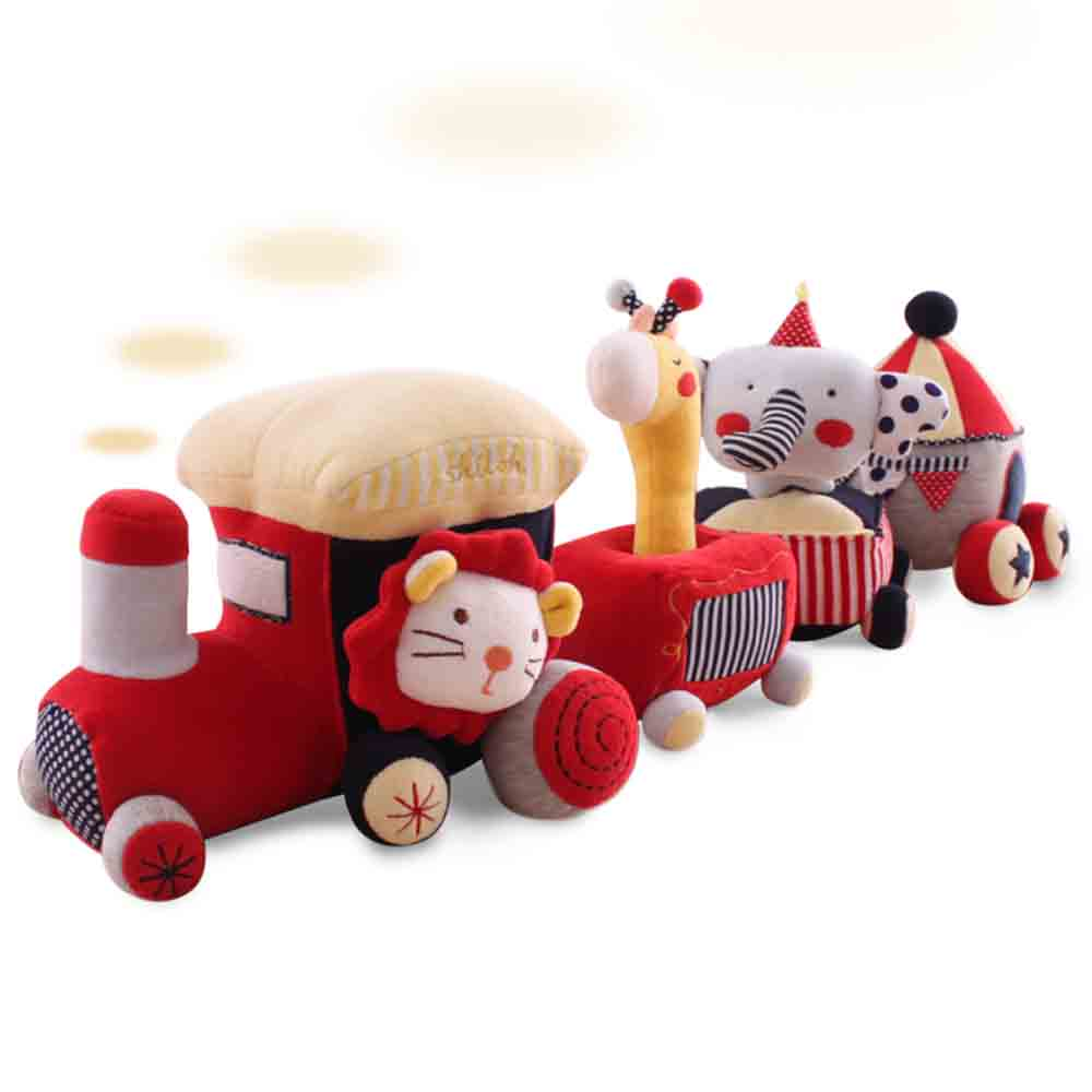 SHILOH Play & Learn Baby Toddlers Kids Cognition fun Touch & Sound Educational Train 4 Carriages Soft Plush Animal  Gift cognition