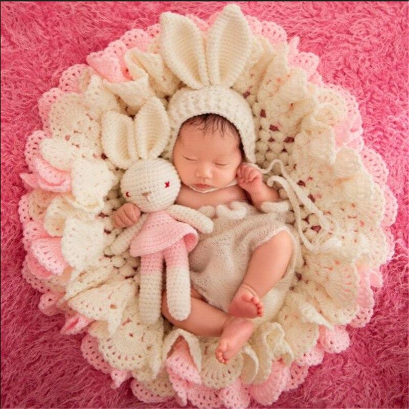 Nouveau-né posant bébé photographie accessoires Crochet couverture Flokati nouveau-né Prop ensemble tricoté chapeau Studio tir accessoires fond Pad
