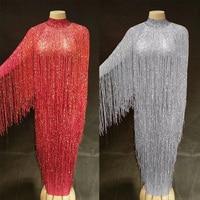 6 Colors Fringes Long Dress Evening Party Birthday Celebrate Tassel Dress Singer Dance Costume Long Net Yarn Dress DJ1033