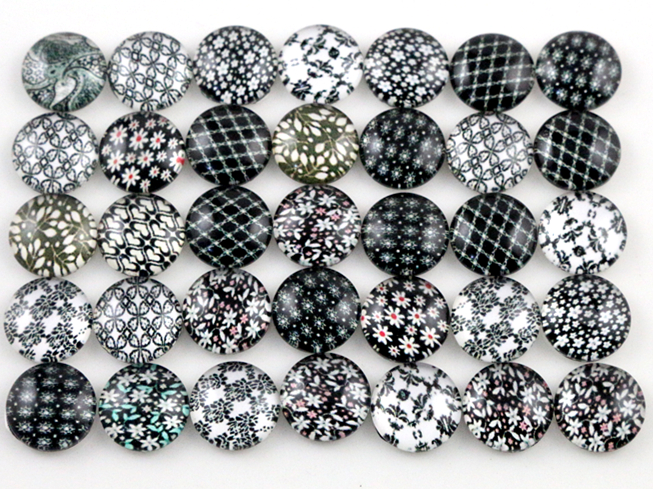 Hot Sale 50pcs 8mm and 10mm Black Flower Mixed Handmade Glass Cabochons Pattern Domed Jewelry Accessories SuppliesHot Sale 50pcs 8mm and 10mm Black Flower Mixed Handmade Glass Cabochons Pattern Domed Jewelry Accessories Supplies
