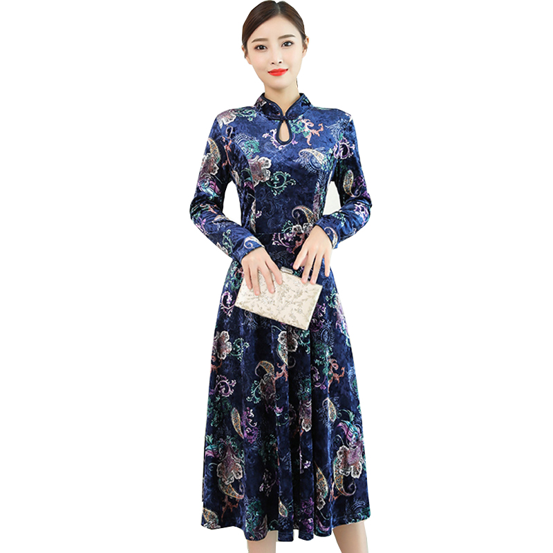 Vintage robe à manches longues femmes 2018 automne hiver nouvelle robe en velours doré grande taille 4XL imprimé élégant modifié cheongsam robe
