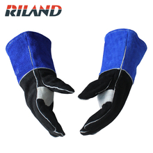 RILAN Cowhide Welders' Working Gloves Insulation Safety Protection 1 pair welding heat resistant gloves safety gauntlets protection heavy duty black mig leather cowhide welders working gloves