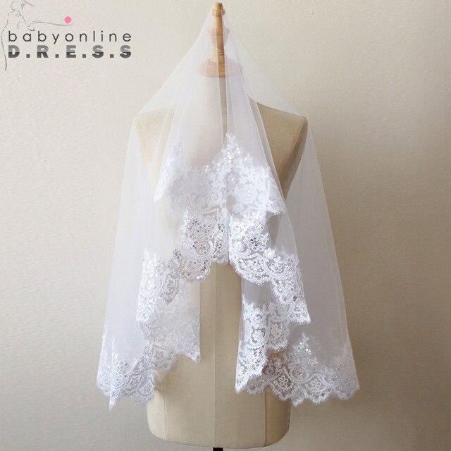Highest Quality   Meter One Tiered Lace Long Elegant Luxury Wedding Bridal Veil Veu De Noiva