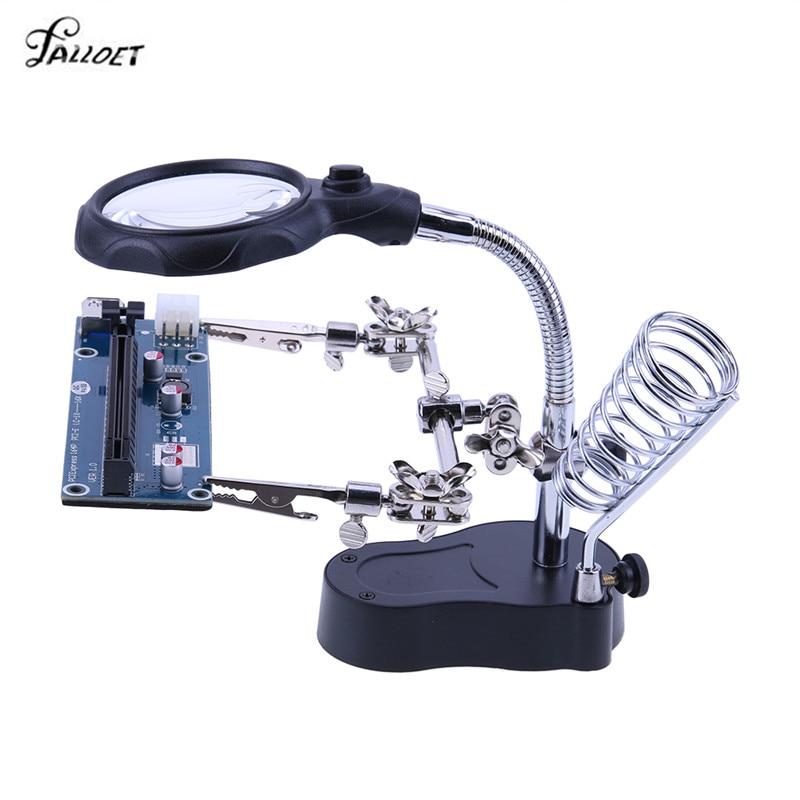 De tercera mano de soldadura lupa de con luz LED 3.5X-12X lente auxiliar Clip lupa escritorio lupa soldadura herramienta de reparación