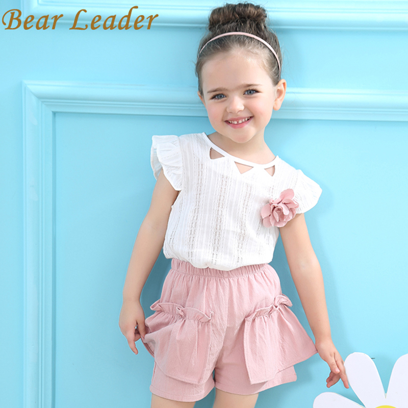 Bear Leader Girls Clothing Set 2018 Märke Girls Suits Sommar Ärmlös Appliques T-shirt + Floral Shorts 2pcs Children Clothing