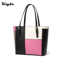 KXYBZ Fashion Panelled Top Handle Women Handbag Patchwork PU Leather Female Tote Bags Large Capacity Designer