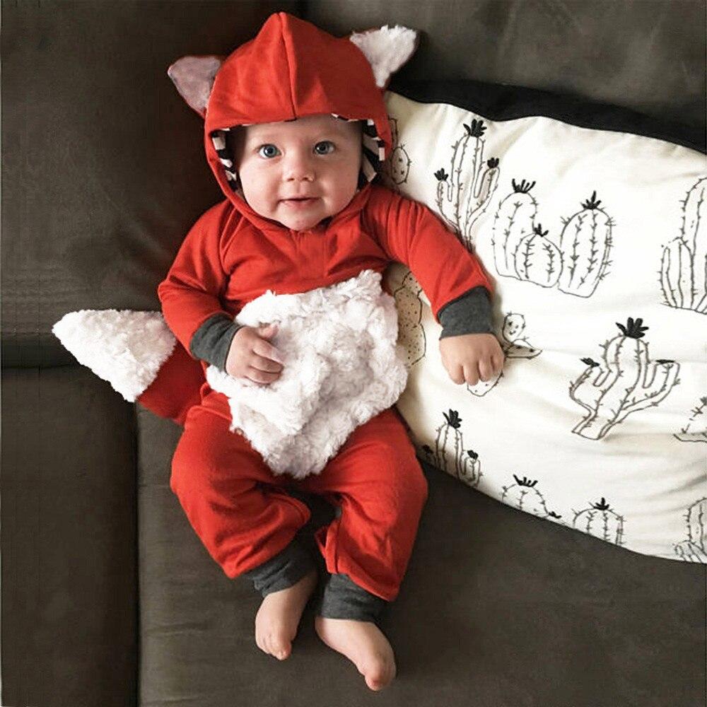 Neugeborenen Baby Mädchen Jungen 3D Cartoon Fox Hooded Romper Overall Outfits baby kostüm mameluco bebe