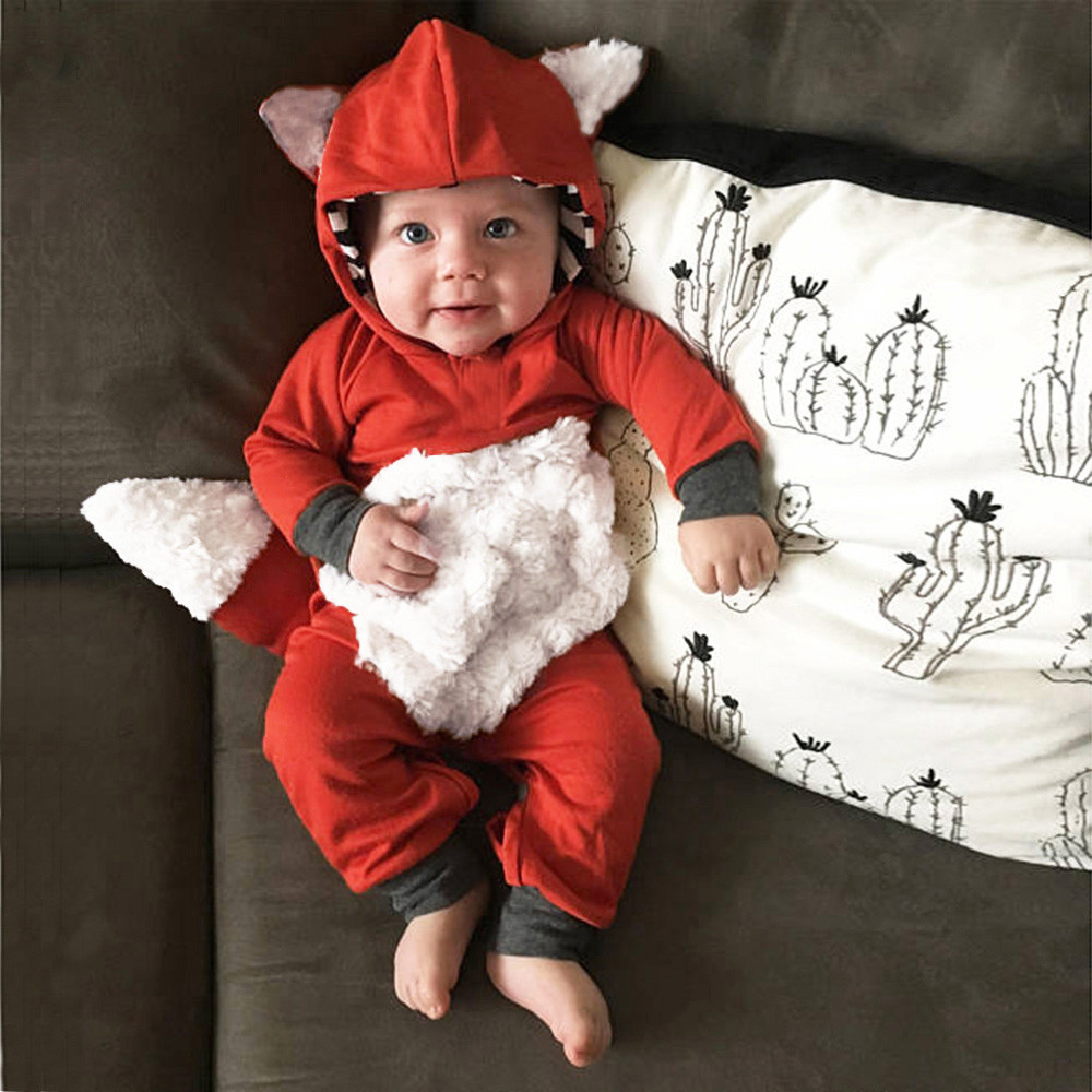 Newborn Infant Baby Girls Boys 3D Cartoon Fox Hooded Romper Jumpsuit Outfits baby costume mameluco bebe winter baby rompers cute cartoon fox girls boys long sleeves hooded romper newborn crawling jumpsuit soft warm infant clothing