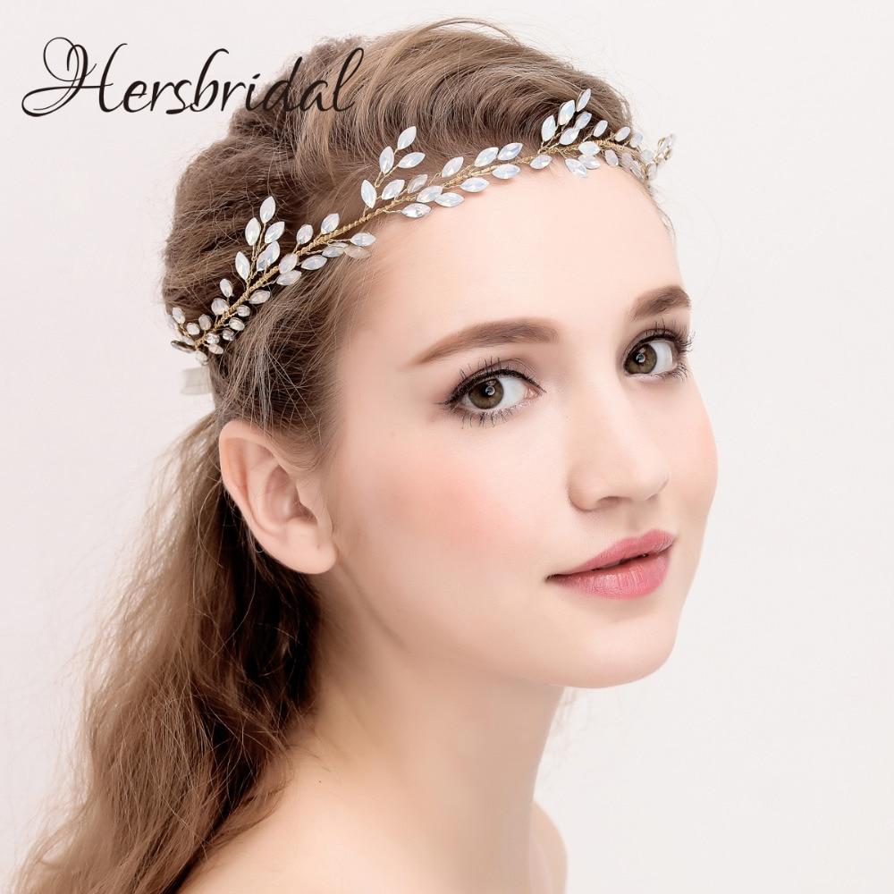 Czech Stone Hair Vine Bridal Headband Vintage Gold Wedding Headpiece Bohemian Style Halo For Brides New Style headpiece
