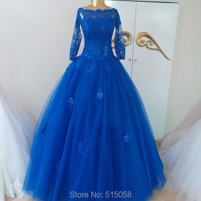 Vintage High Neck Lace Long Sleeves Muslim Royal Blue Wedding ...
