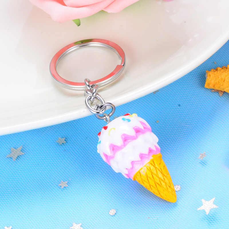 Sitaicery sorvete chaveiro pingente saco charme colorido chaveiros para crianças bonito jóias feminino carro chaveiro presente de natal