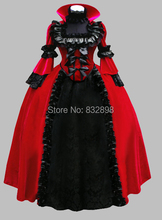 Luxury Gothic Black and Red Pleuche Jacquard Victorian Ball Gown Party Dress Cosplay Dress