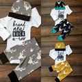 3 Pcs Fanfarrão Das Meninas Dos Meninos Do Bebê Recém-nascido roupas conjunto Infantil Veado Longo Bodysuit Manga Da Menina do menino Top + Calça + Chapéu Roupas Roupa 0-18 M