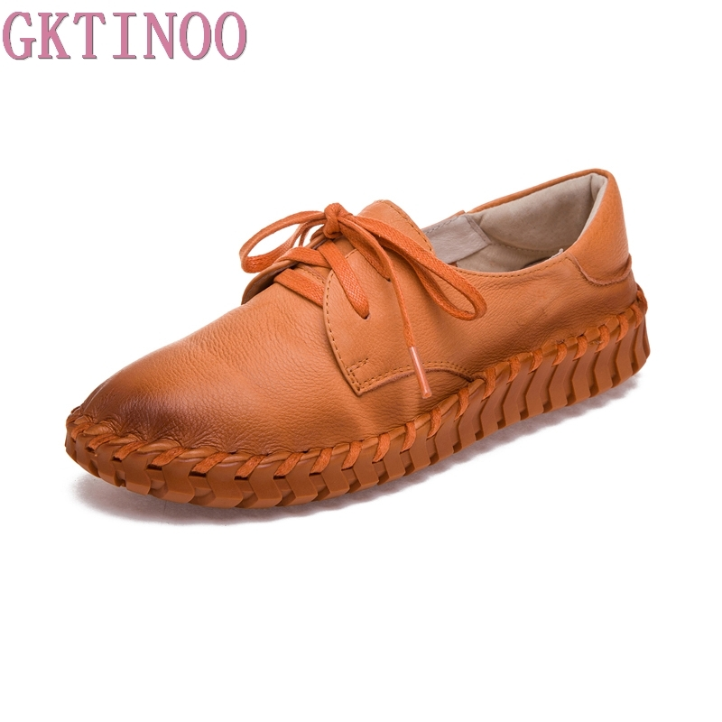 GKTINOO New Women Genuine Leather Shoes Moccasins Mother Loafers Soft Leisure Flats Female Driving Casual Flat Shoes Size 35-40 female loafers new lace mother flat shoes fashion shallow mouth ladies peas shoes tendon casual women leather shoes plus size