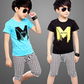 Summer Children Boys Sets Baby Boys Casual Clothes Kids Short Sleeve T Shirts+Plaid Shorts Pants 2 Pcs Sets Suits Infantis