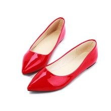 2017 new fashion style pointed toe women's shoes flats summer solid flat shoes woman candy color ballet shoes